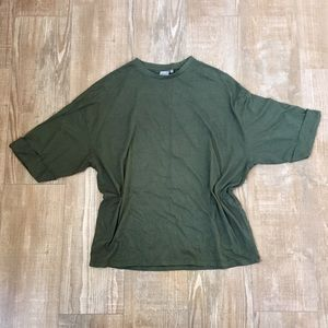 ASOS Basic Forest Green Oversized Parachute Shirt